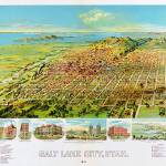 """Salt Lake City Utah Panoramic Map"" by ArtLoversOnline"