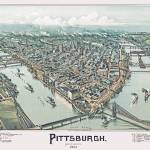 """Pittsburgh Pennsylvania Panoramic Map"" by ArtLoversOnline"