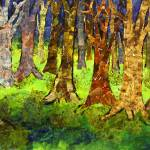 """Valsette Forest, Abstract Tree Art"" by schulmanart"