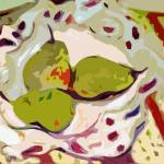 """Abstract Three Green Pears Art by Ginette"" by GinetteCallaway"