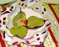 Abstract Three Green Pears Art by Ginette
