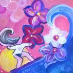 """Surfer Girl on pink background"" by KAbrahamson"