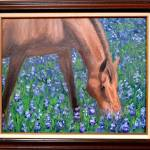 """Brown Horse in Field of Blue Flowers"" by BlueSkies"