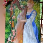 """Harpist in Garden (on display easel)"" by BlueSkies"