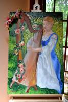 Harpist in Garden (on display easel)