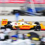 """Ryan Hunter-Reay exiting pit road"" by jchau"