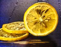Yellow Lemon Slices on Blue, Edit E