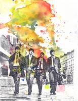 The Beatles Walking the Street