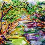 """Annecy Canal Swans France Watercolor"" by GinetteCallaway"