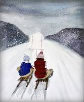 snow storm painting - christmas card