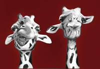 giraffe painting - giraffe buddies on red