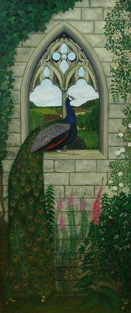 A Blue Peafowl on a Gothic Arch
