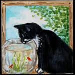 """The Tuxedo Cat and the Fish Bowl"" by ElizaArt"