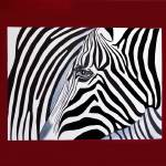 """Zebra abstract on red"" by Spangles44"