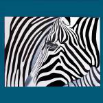 """Zebra abstract on blue"" by Spangles44"