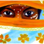 """Eye catching - girl with orange flowerd veil"" by Spangles44"