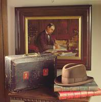 View of the Study, showing a dispatch box, books a