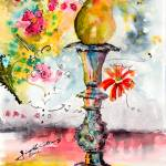 """Pear On Candle Stick Watercolor and Ink"" by GinetteCallaway"