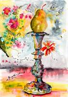 Pear On Candle Stick Watercolor and Ink