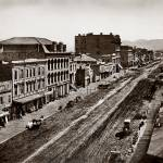 """Market to 2nd, site of Palace Hotel, 1865"" by worldwidearchive"