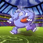 """Olympic Rugby Rhinoceros"" by Zooco"