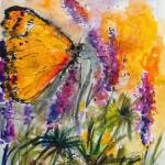 """Yellow Butterfly on Lupines Modern Painting"" by GinetteCallaway"