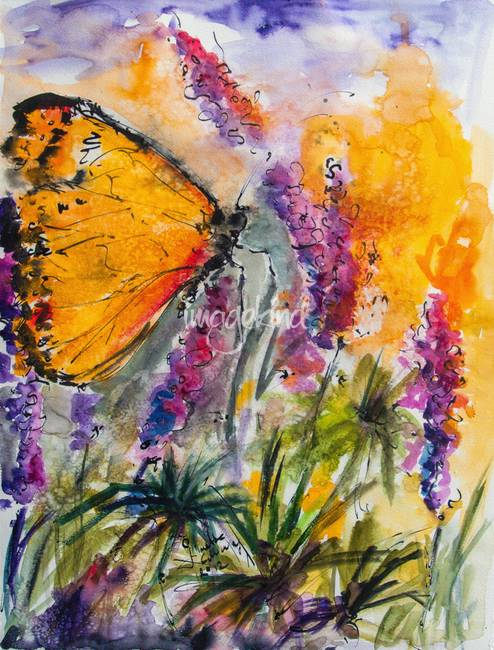 yellow butterfly on lupines modern painting by ginette. Black Bedroom Furniture Sets. Home Design Ideas