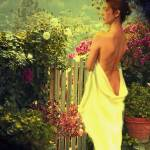 """girl at garden gate"" by tuscan"