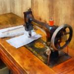 """Sewing Machine With Orange Thread"" by susansartgallery"