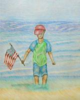 A Boy with a Flag