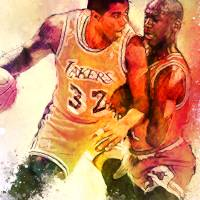 """Magic Johnson Vs Michael Jordan, Lakers/Bulls NBA"" by artofvela"
