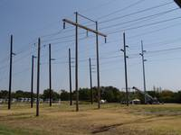 Demo Structures with 345-kV Tower Erection in Back