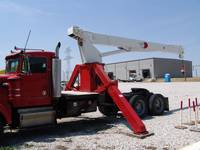 Red Grapple truck with boom