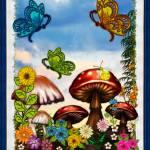 """Shroomvilla Summer Whimsical Fantasy Art"" by ReneeLozenGraphics"