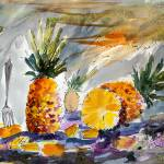 """Pineapples Still Life Watercolor by Ginette"" by GinetteCallaway"