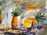 Pineapples Still Life Watercolor by Ginette