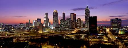 Example of Atlanta, GA at dusk skyline in perspective on angled canvas