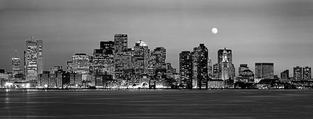 Example of Boston (Black & White) skyline in perspective on angled canvas
