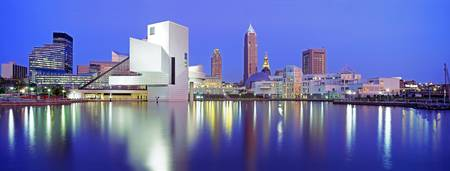 Example of Cleveland skyline in perspective on angled canvas