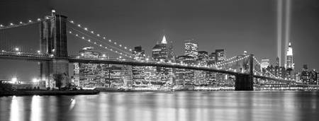 Example of New York, NY  (Black & White) skyline in perspective on angled canvas