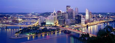 Example of Pittsburgh, PA skyline in perspective on angled canvas