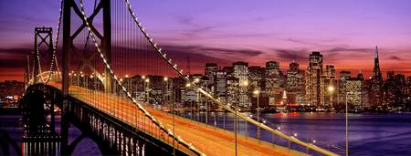 Example of San Francisco, Bay Bridge skyline in perspective on angled canvas