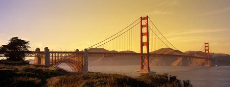 Example of San Francisco, Golden Gate Bridge skyline in perspective on angled canvas