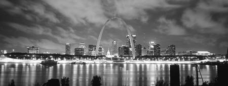Example of St. Louis (Black & White) skyline in perspective on angled canvas
