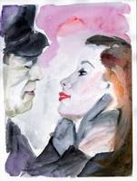 Anticipation of a Kiss watercolor by Ginette