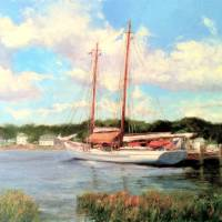 Schooner Moored on the Mystic River Art Prints & Posters by Blaney Harris