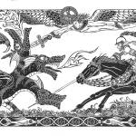 """St. George and The Dragon (14""x30"")"" by KenRileyArt"