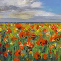"""Poppy Field with Storm Clouds"" by creese"
