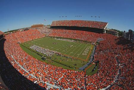 Example of Auburn stadium in perspective on angled canvas