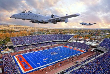 Example of Boise State stadium in perspective on angled canvas